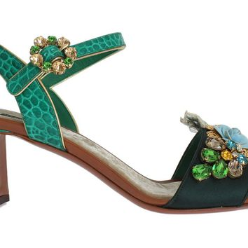 Green Floral Crystal Leather Sandals