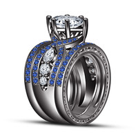 3 CT .925 Sterling Silver Blue Sapphire Wedding Engagement Ring Set Size 5