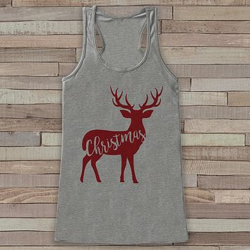 Reindeer Christmas Tank - Cute Adult Christmas Shirt - Winter Tank - Womens Tank Top - Grey Tank - Family Christmas Tank - Holiday Gift Idea