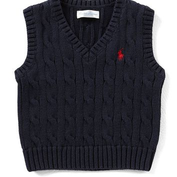 Ralph Lauren Childrenswear Baby Boys 3-24 Months Cable-Knit Sweater Vest | Dillards