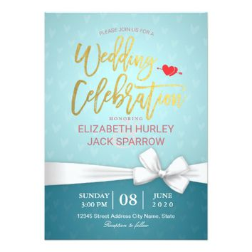 Chic Gold Script White Ribbon Wedding Celebration Card