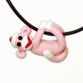 Sock Monkey Pendant Pink Baby Girl MADE to ORDER in by MagicByLeah