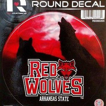 "Arkansas State Red Wolves 4"" Round Flat Vinyl Decal Bumper Sticker University of"