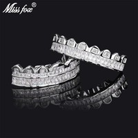 Missfox Best Selling Braces Gold-plated Diamond Hiphop Grillz Jewelry Top Bottom Teeth Hip Hop Halloween Bling Aaa Quality 2019