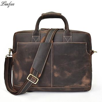 Crazy Horse Genuine Leather Men Briefcase Vintage Big Business Laptop Handbag Large Cowhide Messenger Shoulder Bag Man