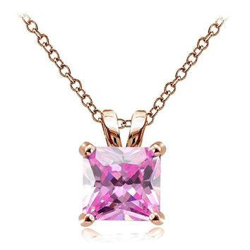 Rose Tone on Silver 9.5ct Pink Cubic Zirconia 12mm Square Solitaire Necklace