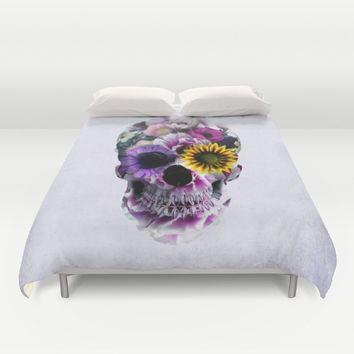 Floral Skull Duvet Cover by RIZA PEKER