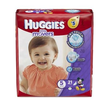 Size 5 Baby Diaper Huggies Little Movers Tab Closure (Over 27 lbs) | Huggies #40798
