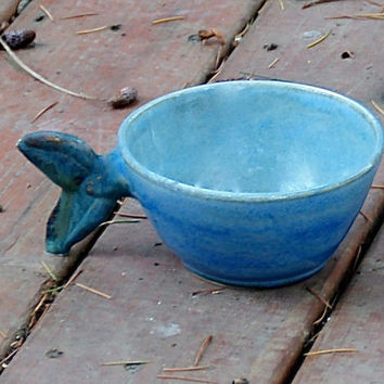 Fish Tail Coffee/Soup Mug Blue Green Gray - stoneware pottery, hand thrown