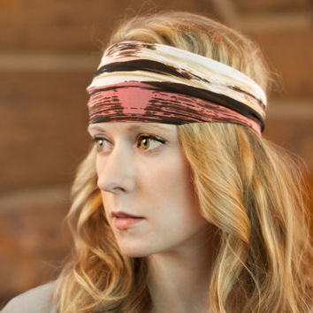 Pink Stretch Headband, Women's Hair Accessory, Brown Stretchy Head band, Boho Print Hair Wrap, Yoga Workout, Fabric Printed Headwrap