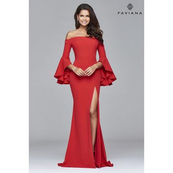 Faviana S8002 Off-The-Shoulder Bell Sleeve Gown