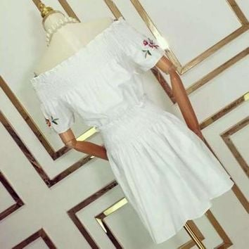 White Flowers Pattern Off The Shoulder Embroidery Boat Neck Sweet Cute Cotton Mini Dress