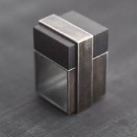 Square Silver Statement Ring, Black Silver and Blackwood, Clean Shapes