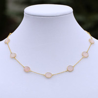 Stone of Love - Rose Quartz pendant with Sterling Silver and 18K Gold Overlay