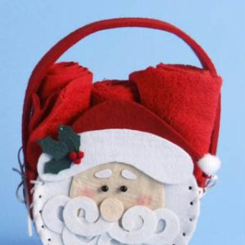 Santa With Hand Towels - A Festive Holiday Pouch Embellished With A Jolly Santa Face