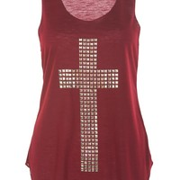 Embellish Cross Casual Tank Top /  Wine - Womens Clothing Sale, Womens Fashion, Cheap Clothes Online | Miss Rebel