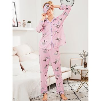Contrast Binding Rabbit Print PJ Set With Eye Mask