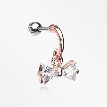 Golden Dangly Sparkle Bow-Tie Cartilage Tragus Earring
