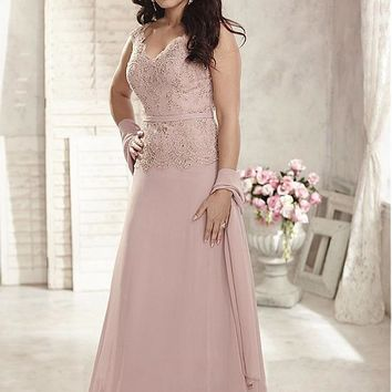 [104.99] Graceful Chiffon V-neck Neckline A-line Mother Of The Bride Dresses With Beaded Lace Appliques - dressilyme.com