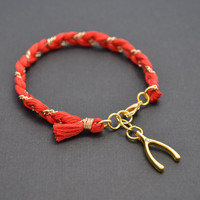 Coral red cotton braid bracelet by LilliDolli on Etsy