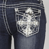 New Grace In LA Idol Dark Wash Denim Rhinestone Cross Flap Pocket Boot Cut Jeans