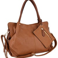MG Collection LALANIE Brown Slouchy Soft Shopper Hobo Handbag w/Zippered Pouch