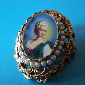Victorian Style Ladies Portrait Brooch Goldtone Filigree and Faux Pearls Vintage Womens Jewelry Retro Fashion Holiday Gift for Her