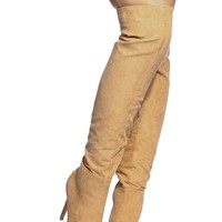 Tan Faux Suede Pointed Toe Knee High Boots @ Cicihot Boots Catalog:women's winter boots,leather thigh high boots,black platform knee high boots,over the knee boots,Go Go boots,cowgirl boots,gladiator boots,womens dress boots,skirt boots.