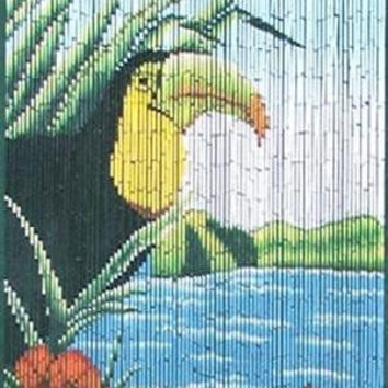 Bamboo door curtain with Toucan scene