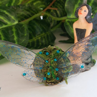 Fairy wings. Adjustable rings. Glitter jewelry. Nature inspired. Forest fairy. Fake moss jewelry. Available in six colours