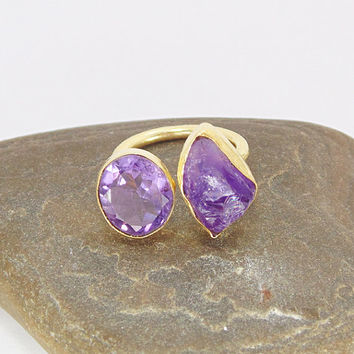 18K Gold Plated Ring - Raw Amethyst Ring - Bezel Set Ring - Stackable Ring - Birthstone Ring - Adjustable Ring - Birthday Gift For Her