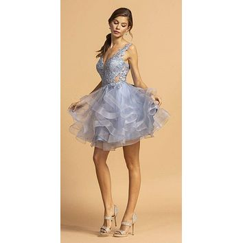 Pewter Tiered Homecoming Short Dress with Appliques