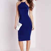 Missguided - Slinky Strappy Midi Dress Navy