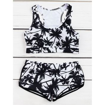 Women's Black & White Palm Tree Print Racer Back Surfer Two Piece Swimsuit Tankini Set
