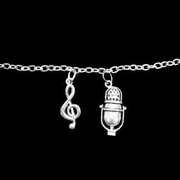 Treble Clef Old Style Microphone Music Musician Band Singer Charm Bracelet