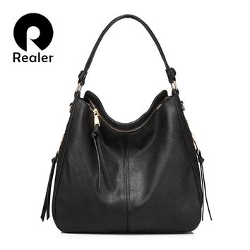 REALER brand handbag women shoulder bag female large tote bags hobo soft artificial leather ladies crossbody messenger bag purse