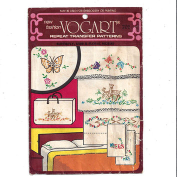 Vogart 701 Hot Iron Transfer Embroidery or Paint Pattern for Linens, Wearable Art, From 1960s, His & Hers, Deer, Flower, UNUSED, Home Crafts