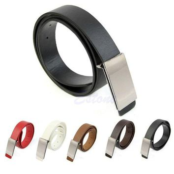DCCKFS2 New Mens Faux Leather Metal Automatic Formal Buckle Dress Waist Band Strap Belts
