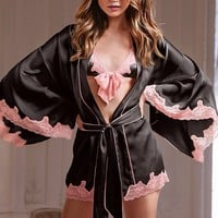 Lace-trim Silk Robe