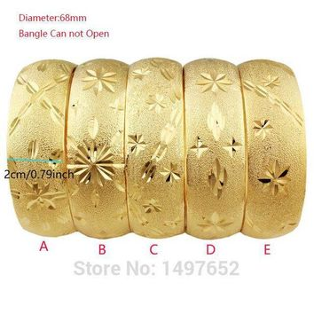 DCCKFV3 Newest Big Wide Ethiopian Bangle / Gold Color Bangles&Bracelets Dubai African Men Women Jewelry