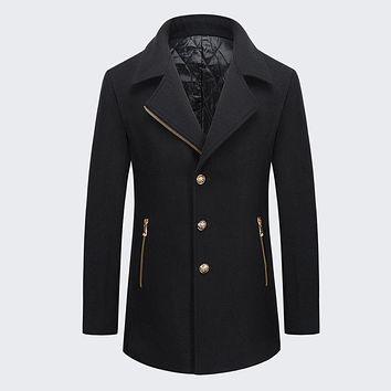 Winter Casual Business Style Pour Black Blue Color Wool Men Coat