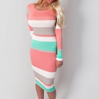Saigon Summer Stripe Print Stretch Midi Dress | Pink Boutique