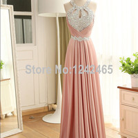 Sheath Sleeveless Prom Abendkleider 2015 Crystal Corset Back Long Formal Evening Dress With Beadings Made In China JC01