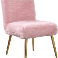 Tiffany Pink Fur Accent Chair Gold Legs