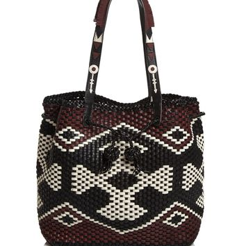 Tory Burch Large Drawstring Woven Leather Tote | Bloomingdales's