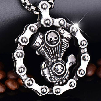 Steampunk Skull Engine Motorcycle Chain Biker Pendant Necklace