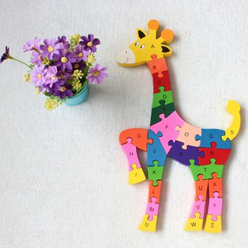 Wooden Giraffe Puzzle Educational Toys for Kid