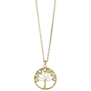 Gold Wire Tree Long Necklace