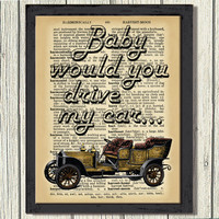 50% OFF SALE ! Dictionary Art Print, Vintage car, Baby drive my car, Wall decor, Decor Wall Art, JPEG File, Instant download,free shipping