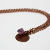 Simple Antiqued Copper and Cyclamen Opal Swarovski Chain Pendant - Minimalist Necklace - Handmade Purple Jewelry - Ready to Ship